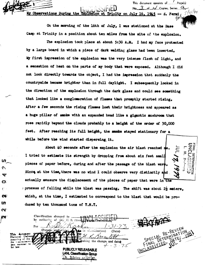 Enrico Fermi. Trinity Report, 1945